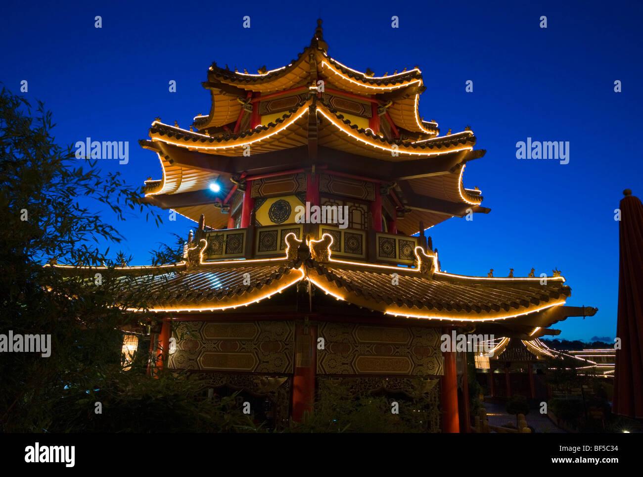Pagoda, souvenir shop in Chinatown, Phantasialand, Bruehl, Nordrhein-Westfalen, Germany, Europe Stock Photo