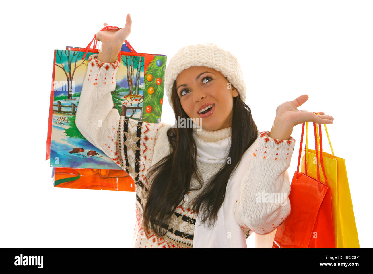 junge Frau beim Weihnachtseinkauf, young woman doing Christmas Stock ...