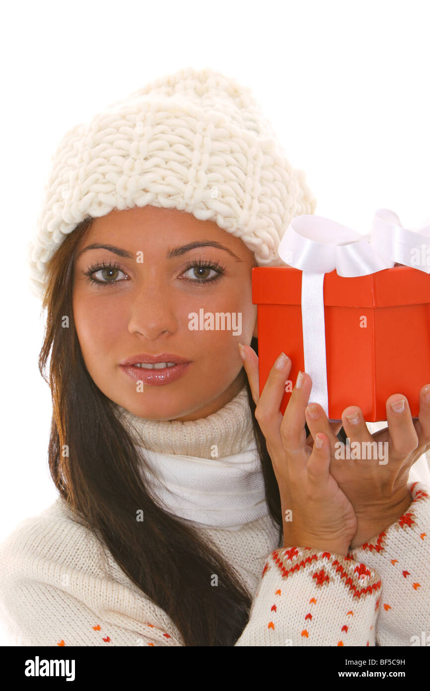 junge Frau mit Weihnachtsgeschenk, young woman with Christmas ...