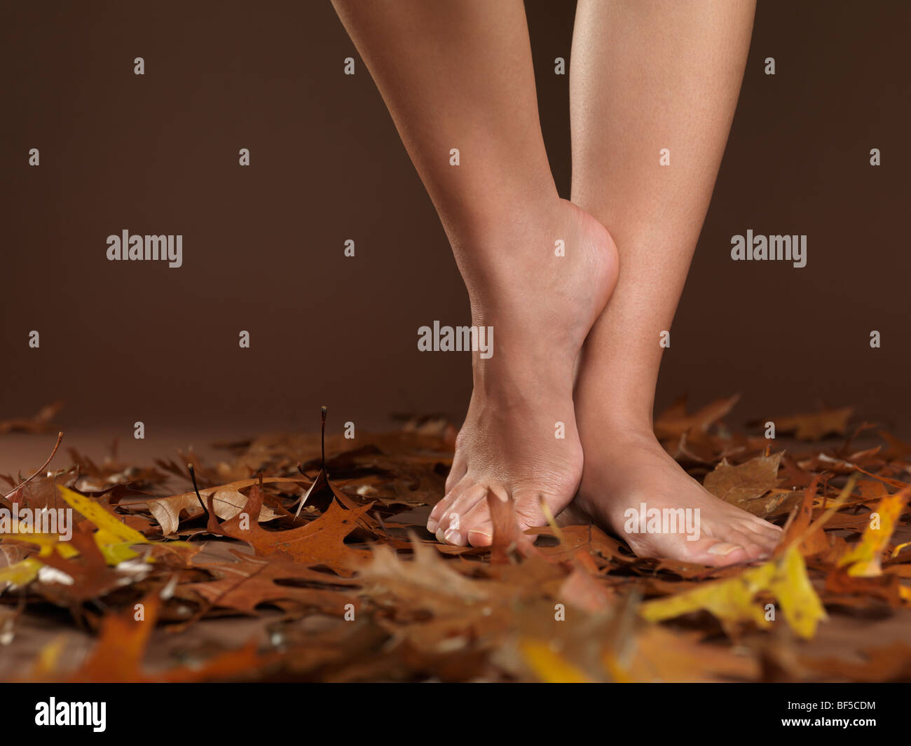 Closeup of legs of a woman standing barefoot on autumn leaves - Stock Image