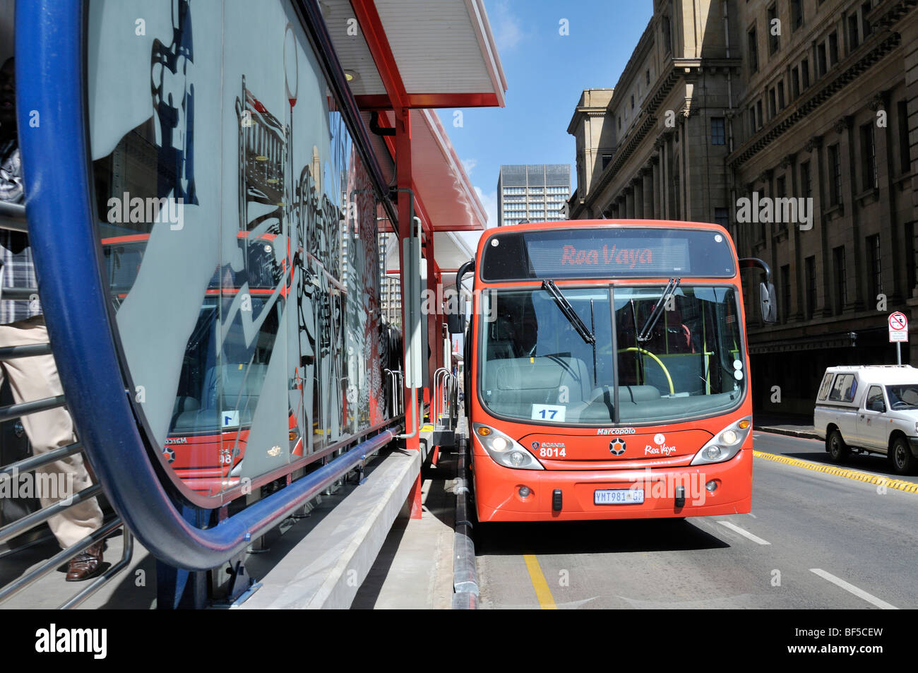 Modern city bus system, Rea Vaya, Bus Rapid Transit system, BRT, should be operational for the FIFA World Cup 2010, - Stock Image