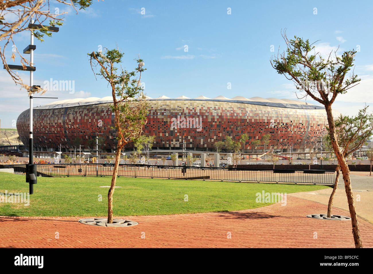 FIFA World Cup 2010, construction site of the Soccer City Stadium in the Soweto district, Johannesburg, South Africa, - Stock Image