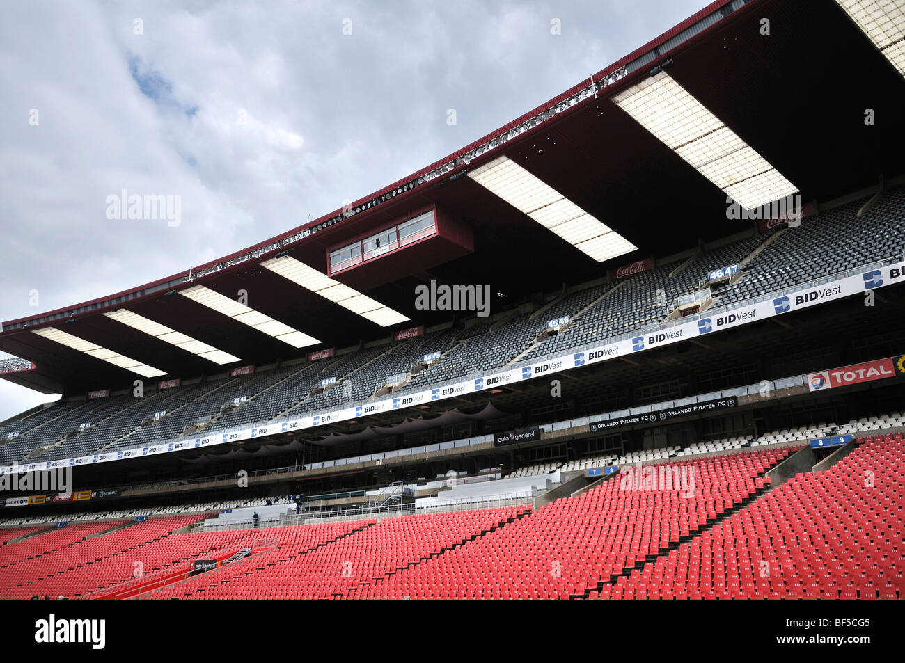 2010 FIFA World Cup, empty stand at the Ellis Park or Coca-Cola Park Stadium in Johannesburg, South Africa, Africa - Stock Image