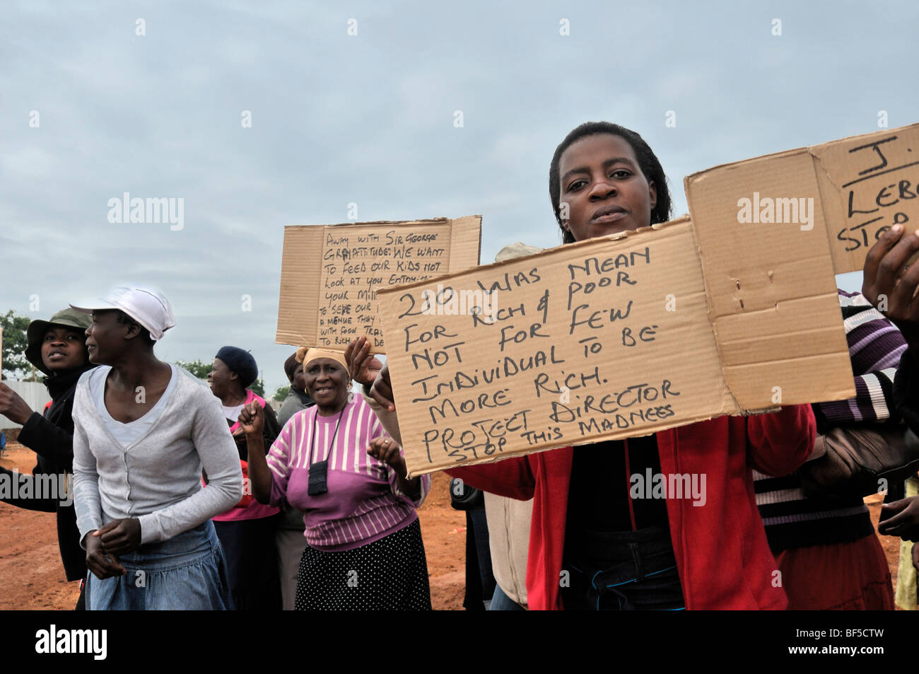2010 FIFA World Cup, women demonstrating for the right to offer food for workers in soup kitchens at the construction Stock Photo