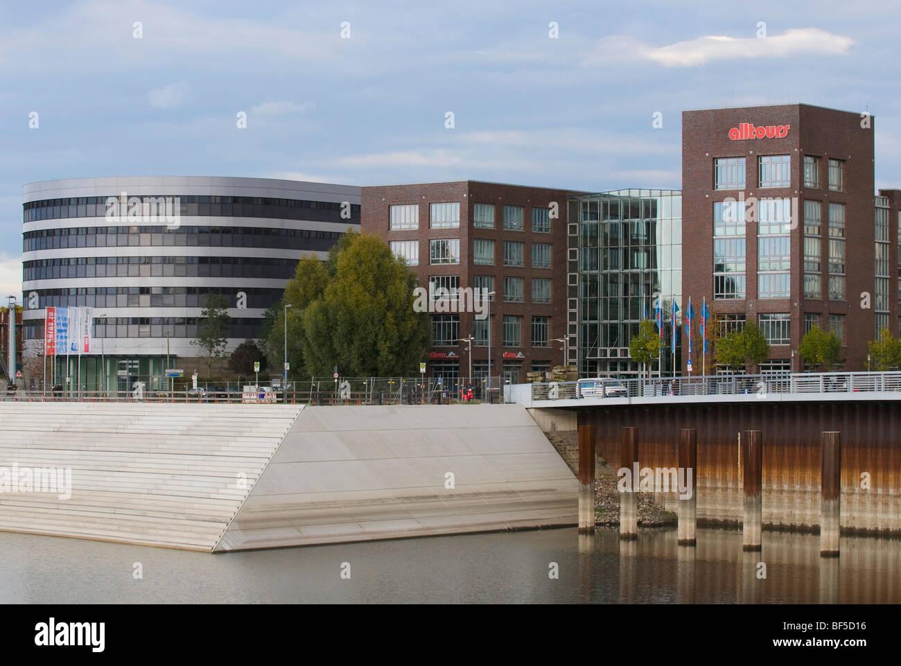 Alltours headquarters, Duisburg Inner Harbor, Alltours Travel Center, North Rhine-Westphalia, Germany, Europe - Stock Image