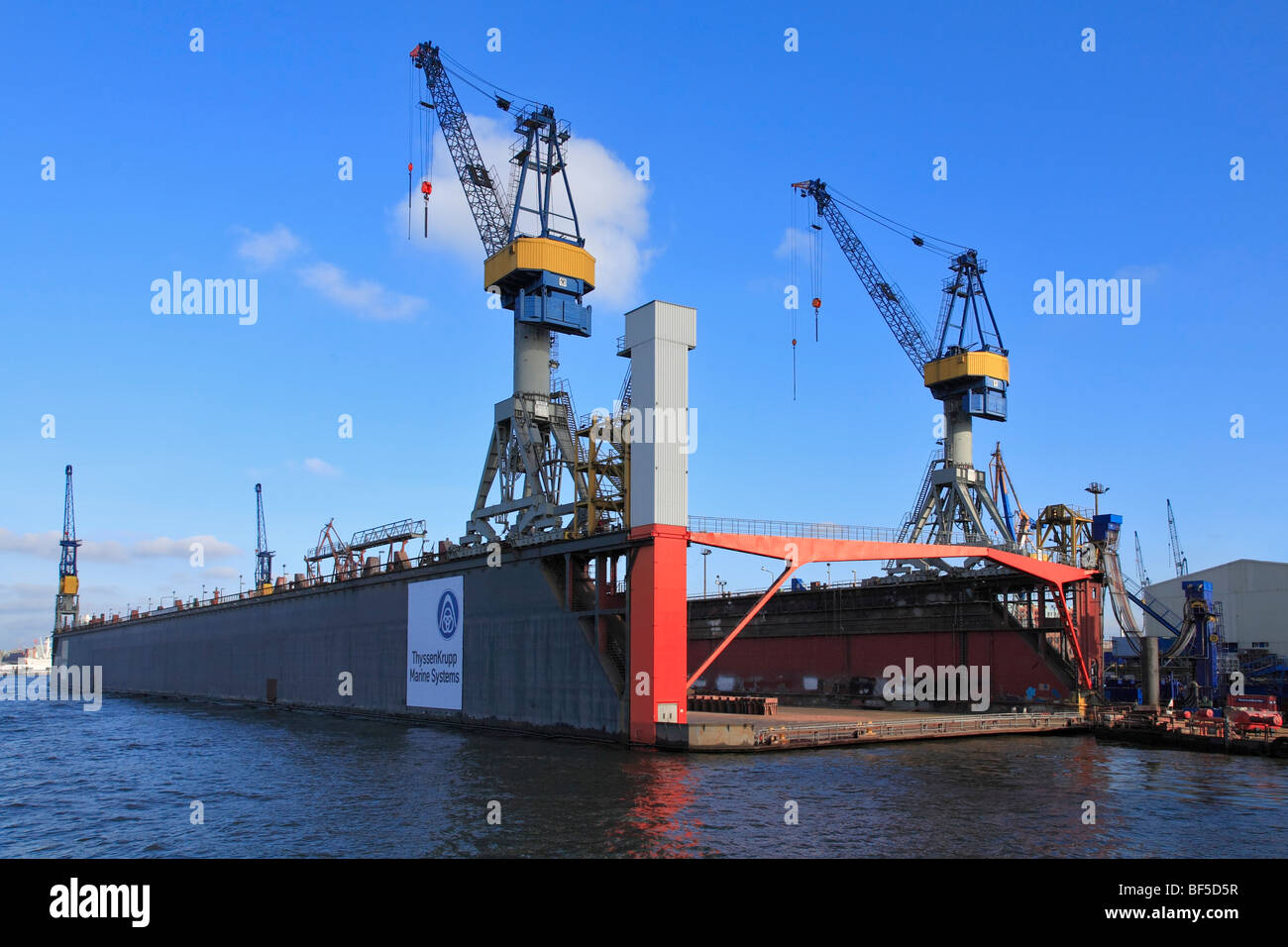 empty floating dock blohm and voss shipyard hamburg port hamburg stock photo 26550323 alamy. Black Bedroom Furniture Sets. Home Design Ideas
