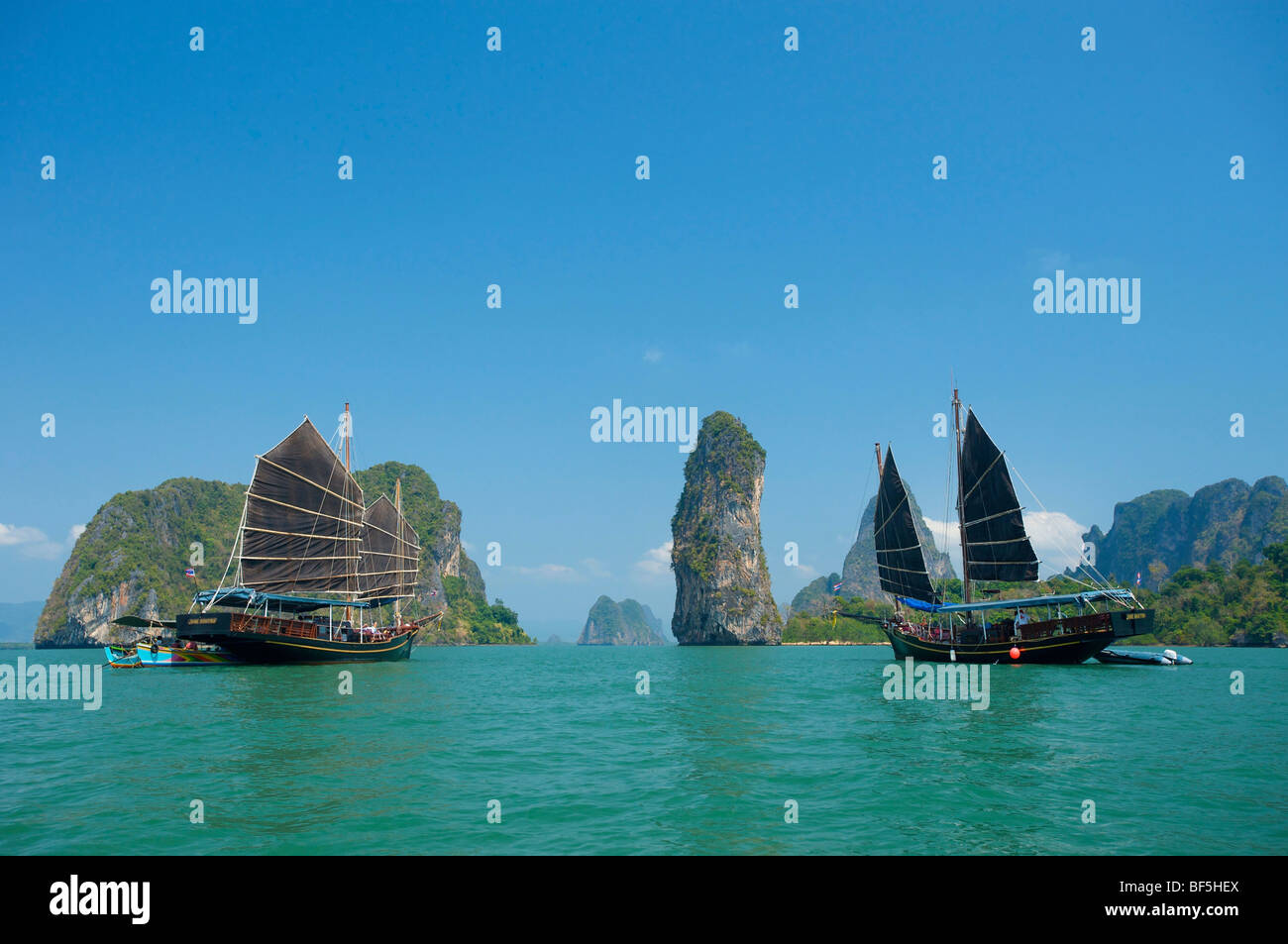 Junk in the Phang Nga Bay, Phuket, Thailand, Asia - Stock Image