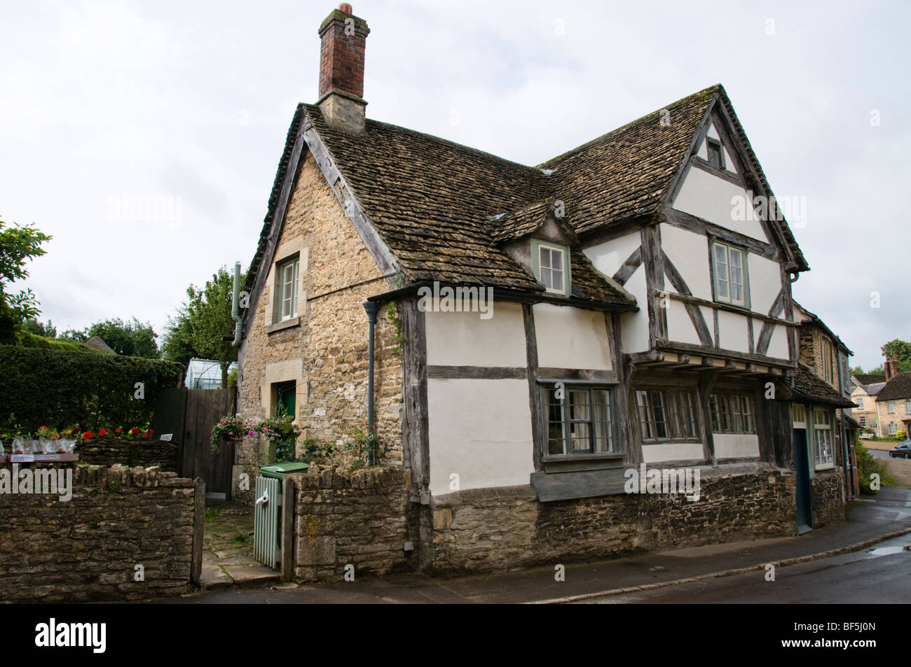 Half timber frame house, Lacock, Wiltshire, Cotswolds, UK - Stock Image