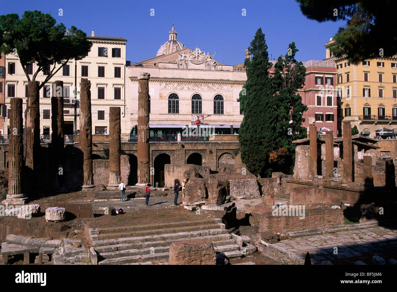 italy, rome, archaeological area of largo di torre argentina with the theatre in the background - Stock Image