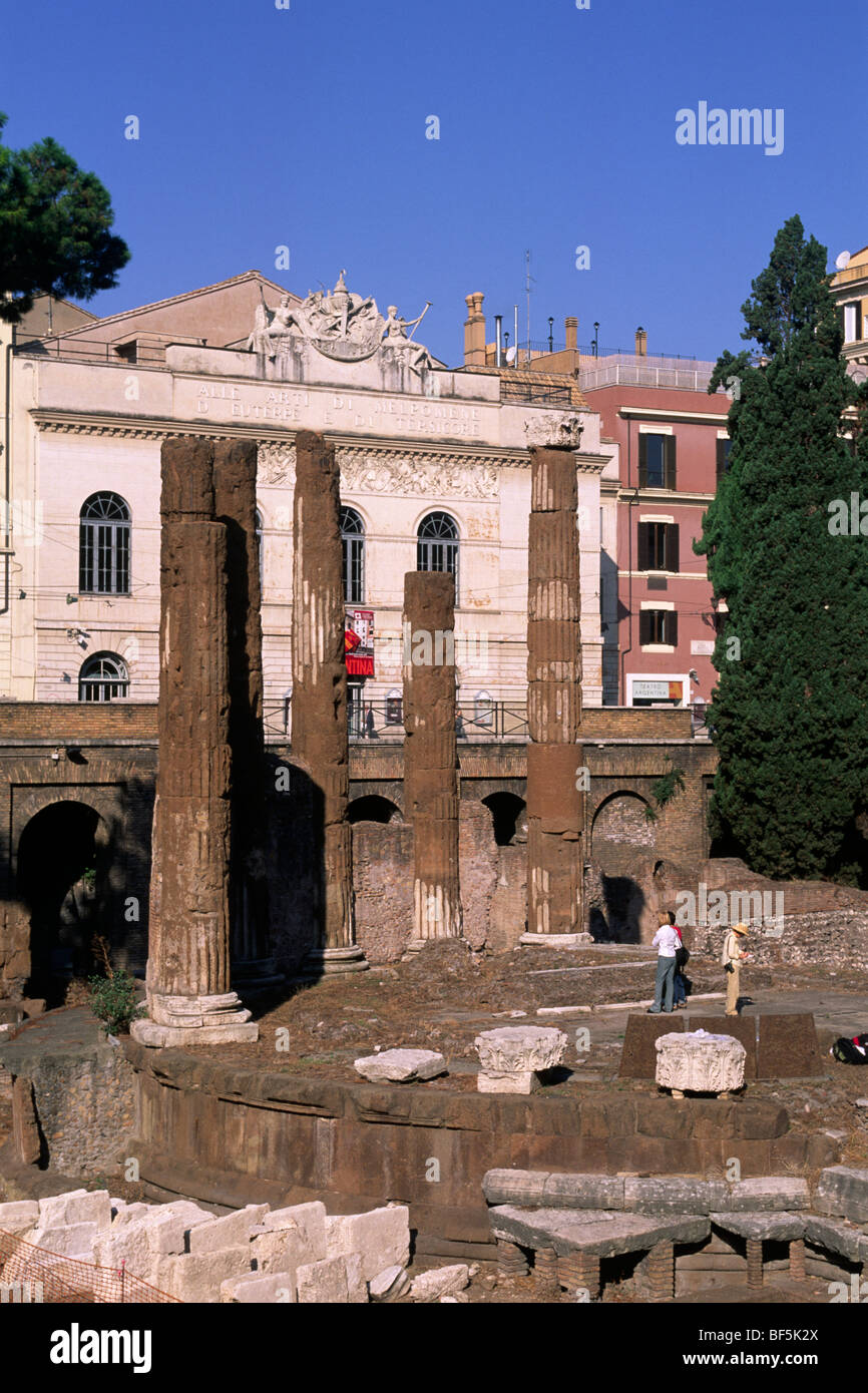 italy, rome, archaeological area of largo di torre argentina, temple B (2nd century BC) with theatre in the background - Stock Image