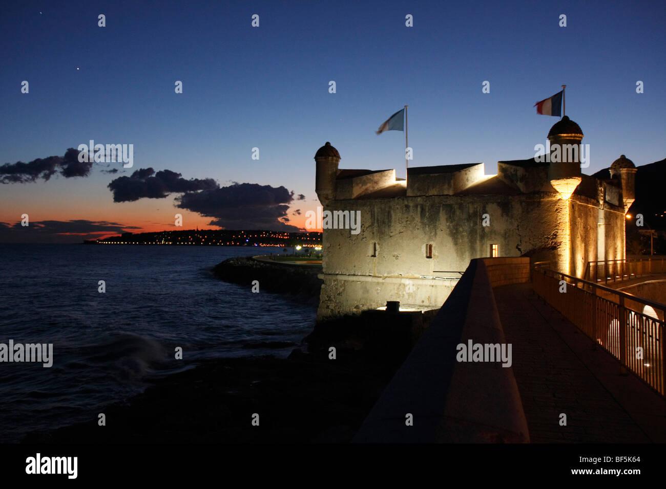 Bastion and Cap Martin, Menton, Alpes Maritimes, Cote d'Azur, France, Europe - Stock Image