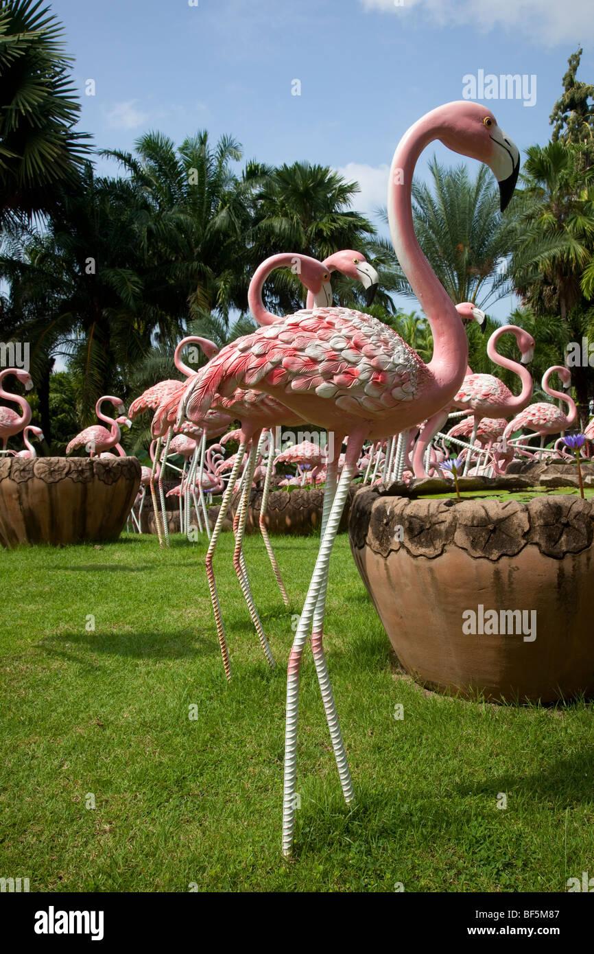 The French Garden, pots and flamingoes at Suan Nong Nooch or NongNooch Tropical Botanical Garden centre Resort, - Stock Image