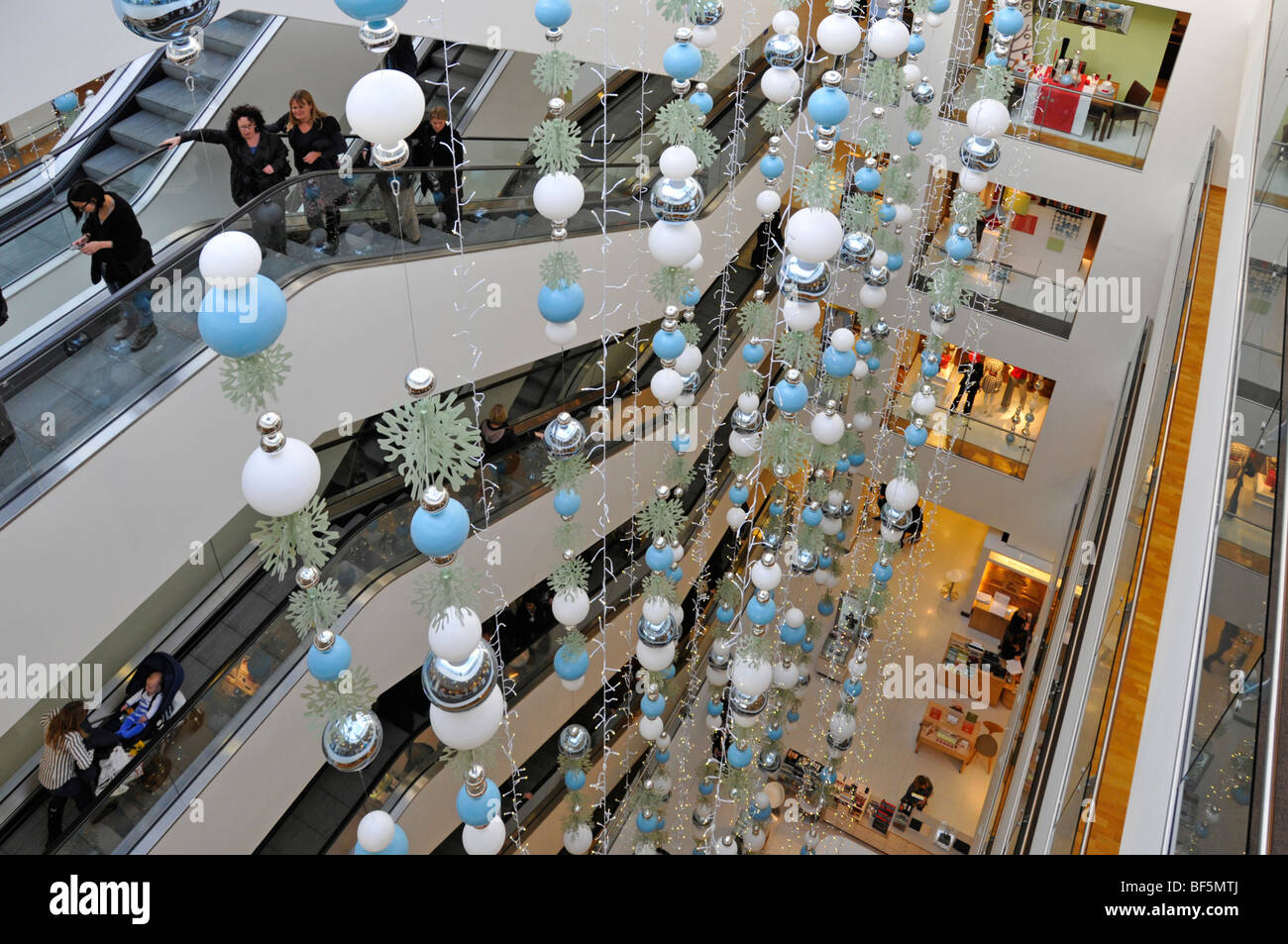John Lewis Store Interior Christmas Decorations And Escalators London  Oxford Street