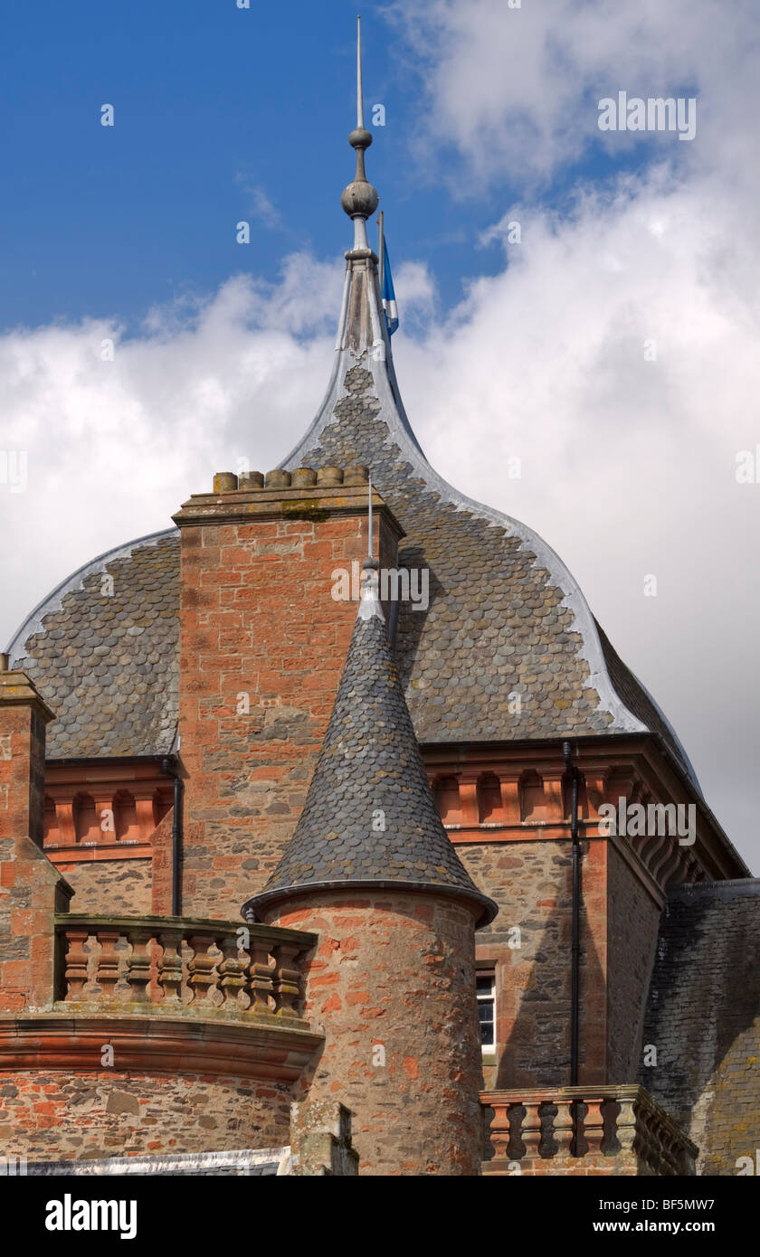 Ogee roof and turreted towers of Thirlestane Castle, Lauder, Scotland - Stock Image