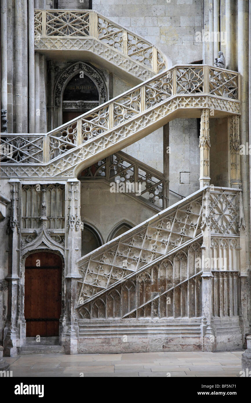 Gothic Staircase, Cathedral Of Rouen, Normandy, France, Europe