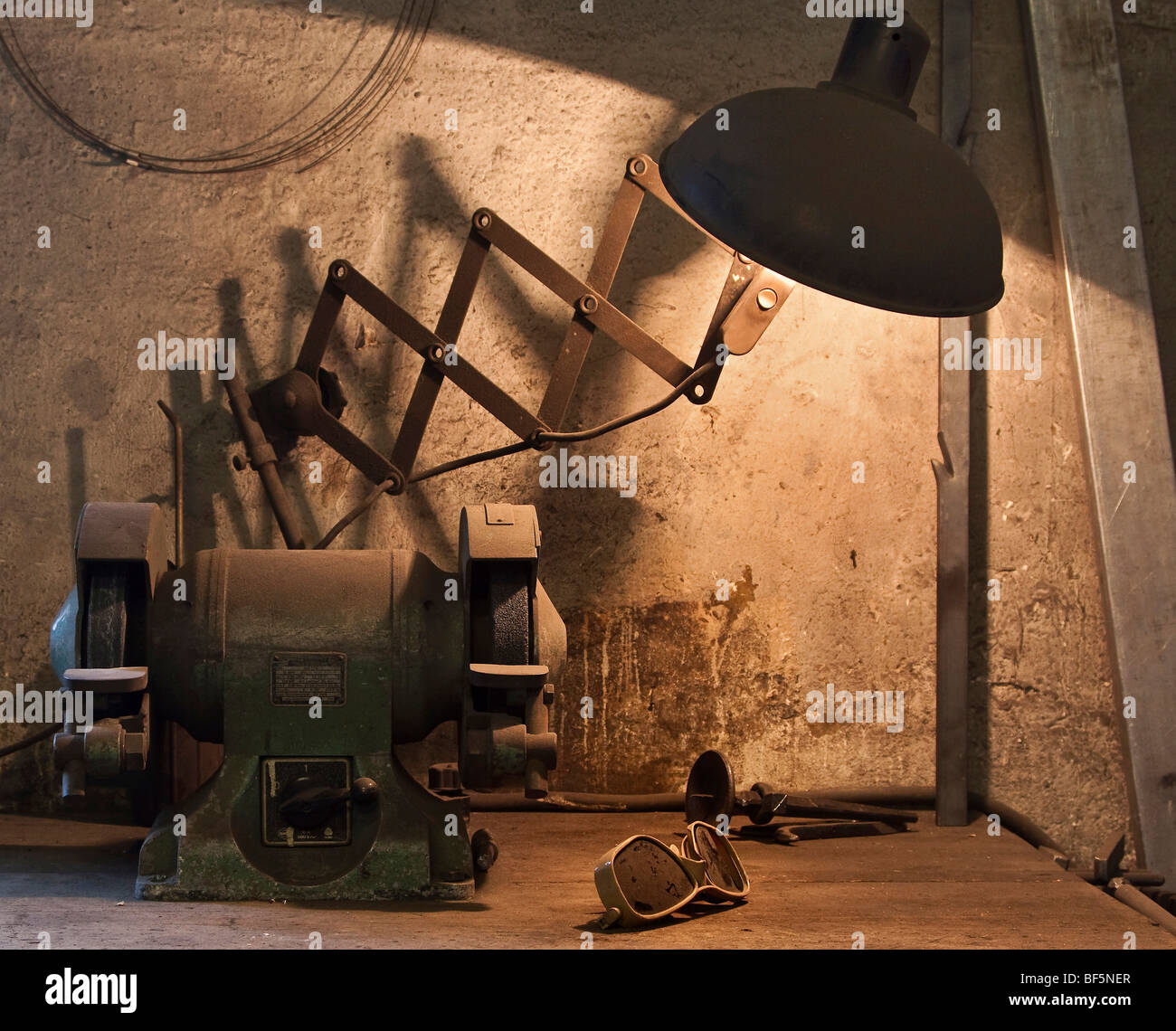 Work bench in a Forge, Berlin, Germany Stock Photo