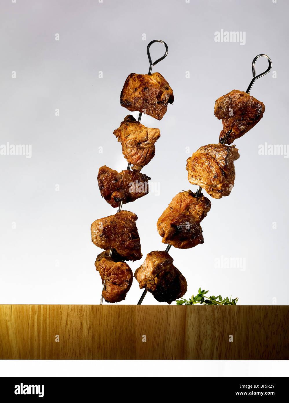 Beef kebabs on skewers. Stock Photo