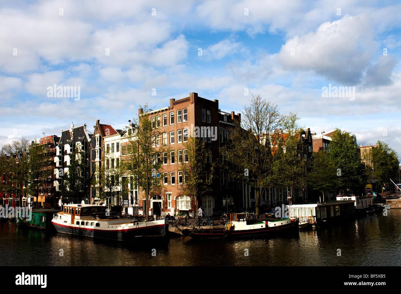 Corner of Prinsengracht and Brouwersgracht, Amsterdam, Holland, Netherlands - Stock Image