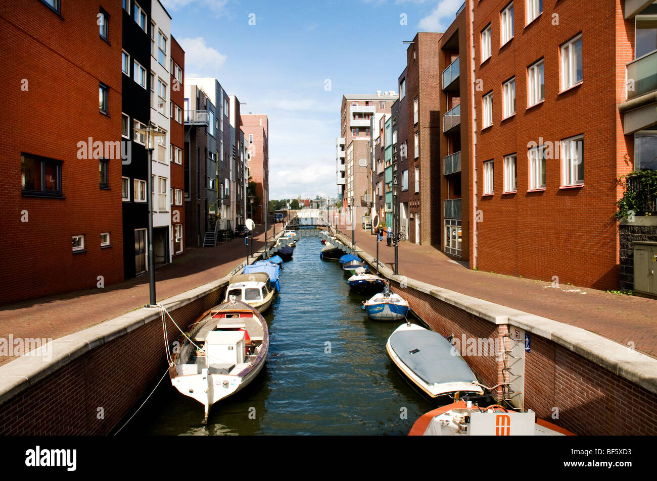 Canal in Java Eiland, Amsterdam, Holland, Netherlands - Stock Image
