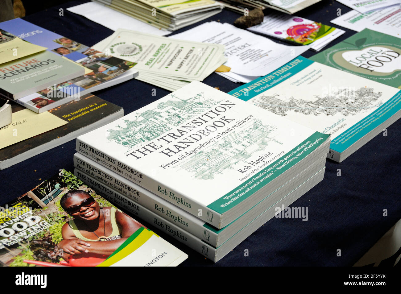 The Transition Handbook, environmental books on sale on stall - Stock Image