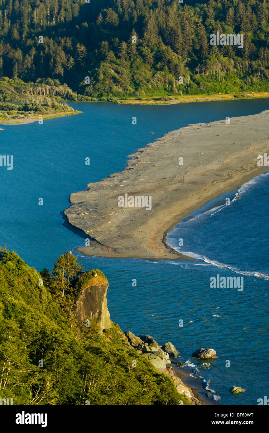 Sandbar sand spit at the mouth of the Klamath River, Redwood National Park, California - Stock Image