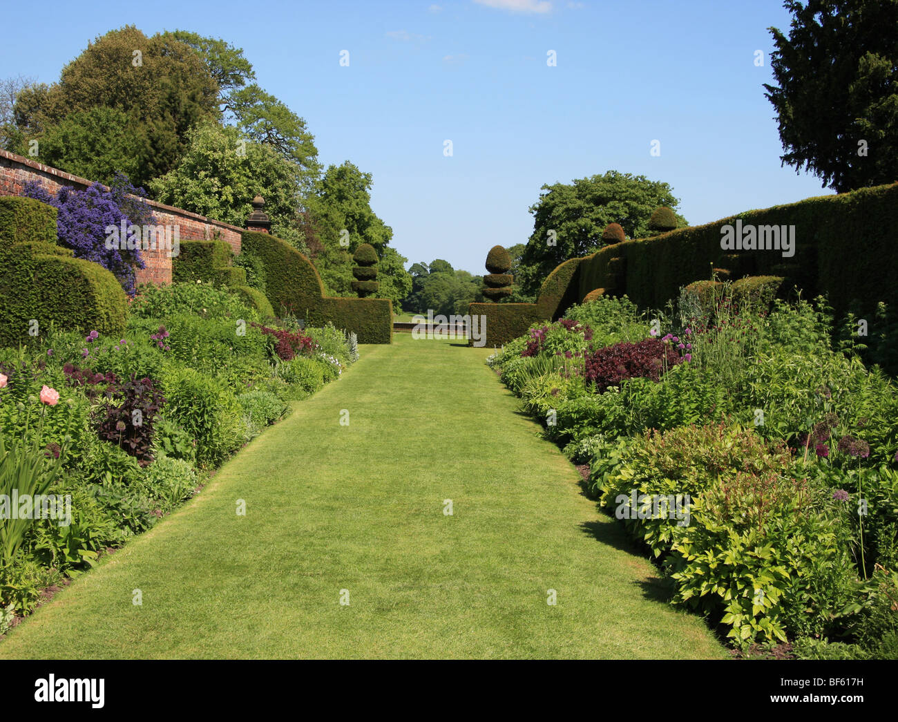 Herbaceous Border Arley Hall and Gardens Arley Northwich Cheshire England - Stock Image