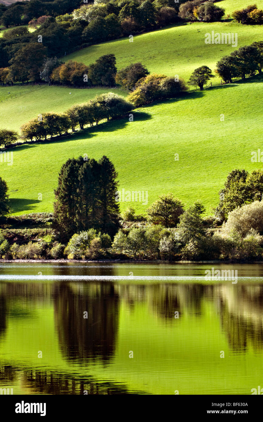 Perfect reflection at Talybont reservoir, Brecon Beacons in Wales taken on beautiful bright sunny day - Stock Image