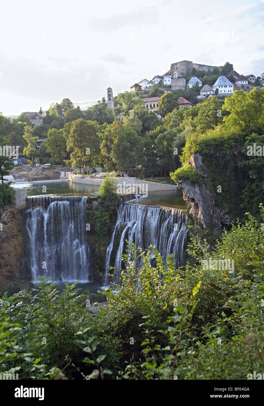 Jajce, Bosnia and Herzegovina, Pliva river waterfall - Stock Image