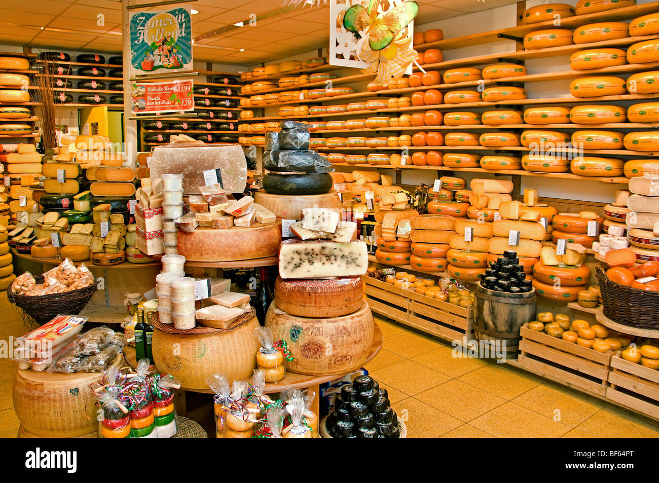 Alkmaar Netherlands Holland cheesemonger cheese milk dairy - Stock Image