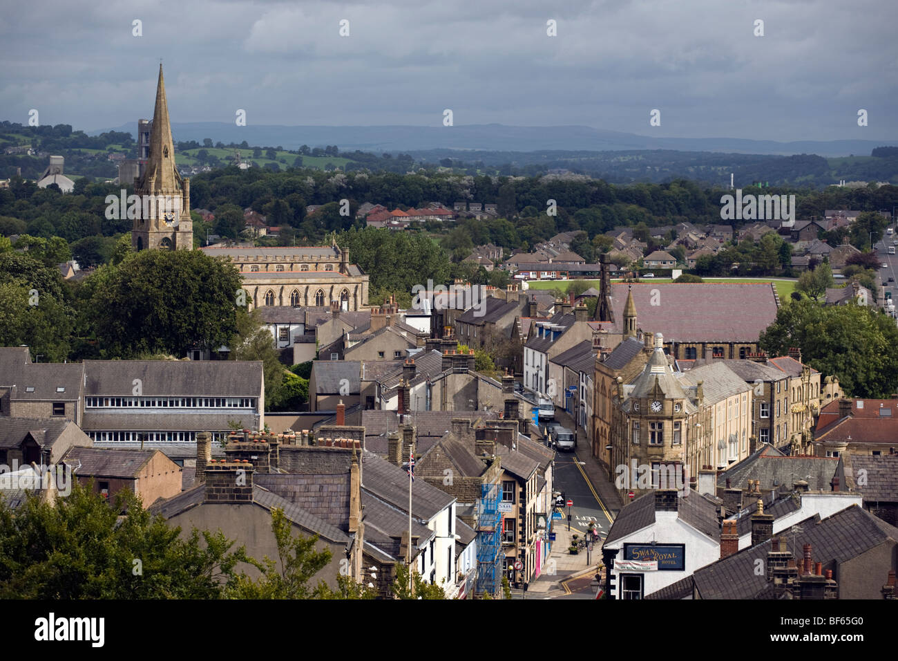 Aerial view of Clitheroe town from Clitheroe Castle - Stock Image