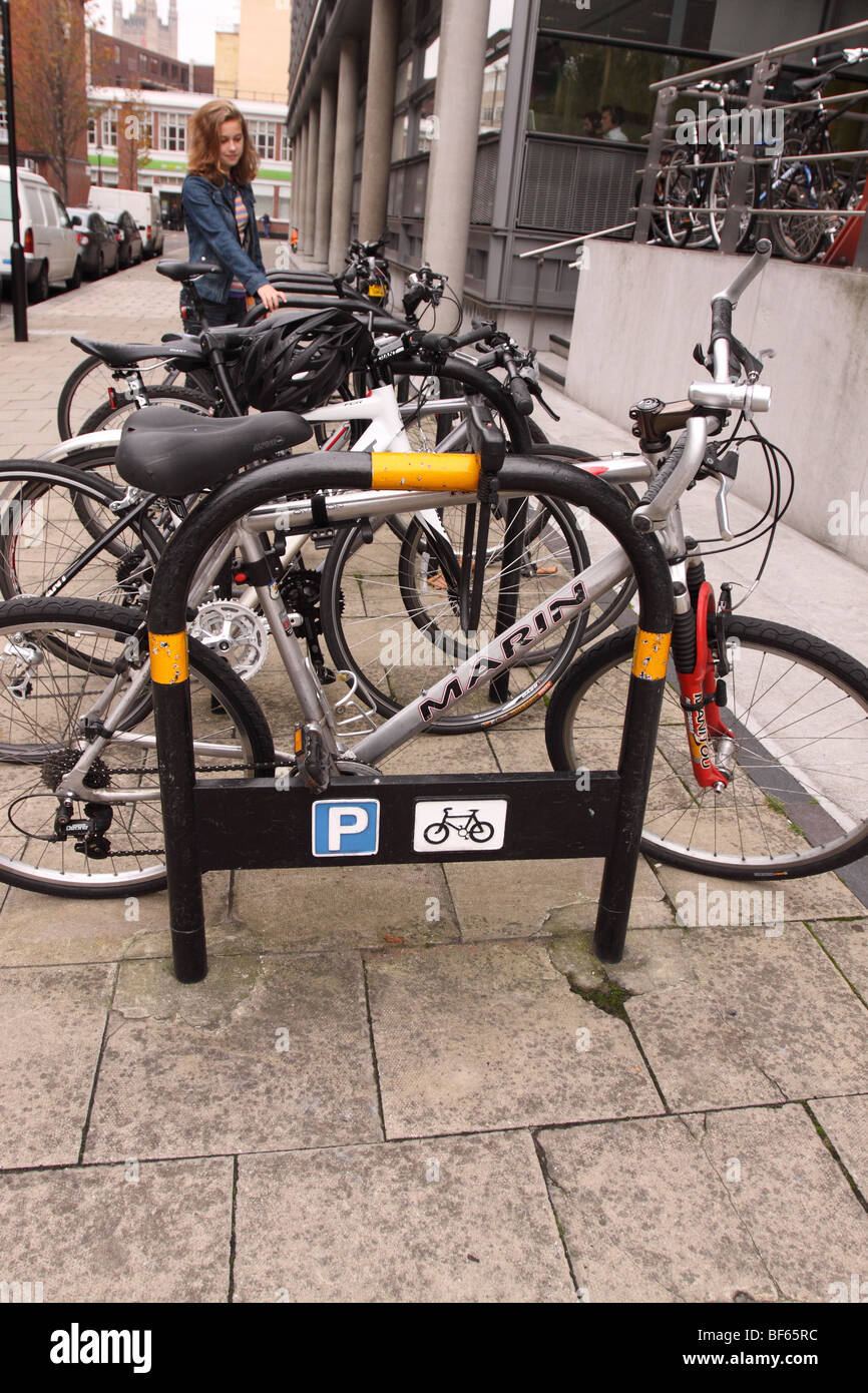 Bicycle cycle designated parking rack in Westminster London - Stock Image