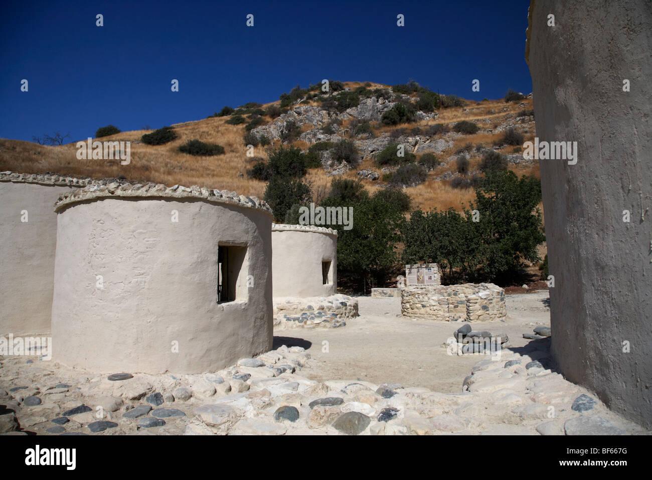 reconstruction of Choirokoitia ancient neolithic village settlement republic of cyprus Stock Photo