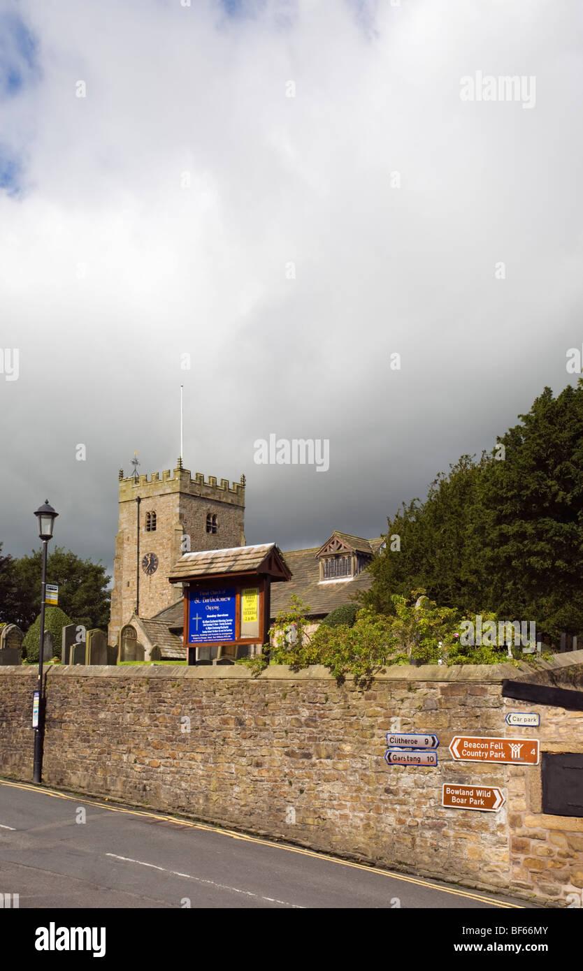 St Bartholomew Parish church in Chipping, lancashire - Stock Image