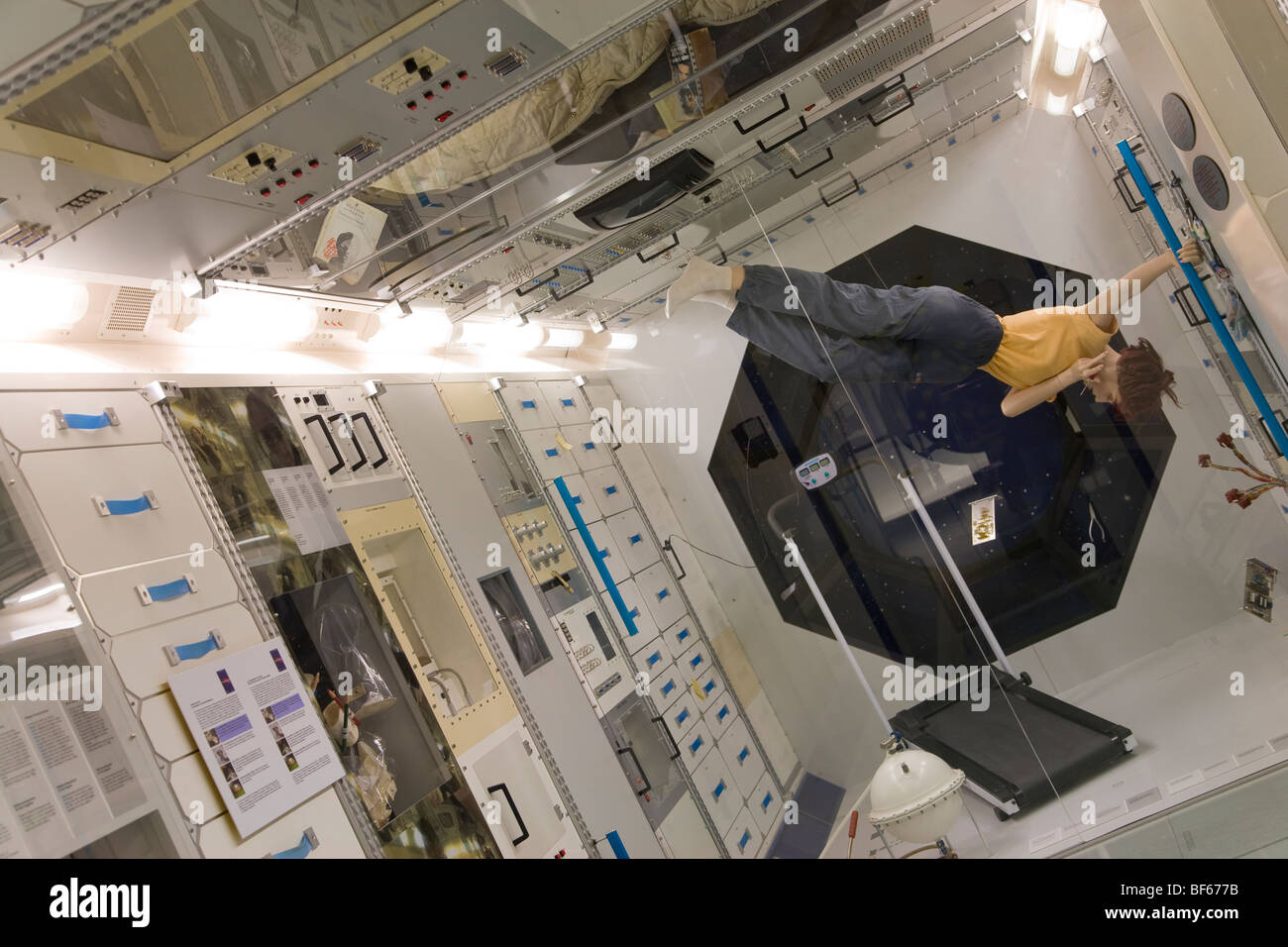 International Space Station ISS, Columbus ISS-Modul, Traffic Museum, Verkehrshaus, Airplanes, Teenagers, Lucerne, - Stock Image