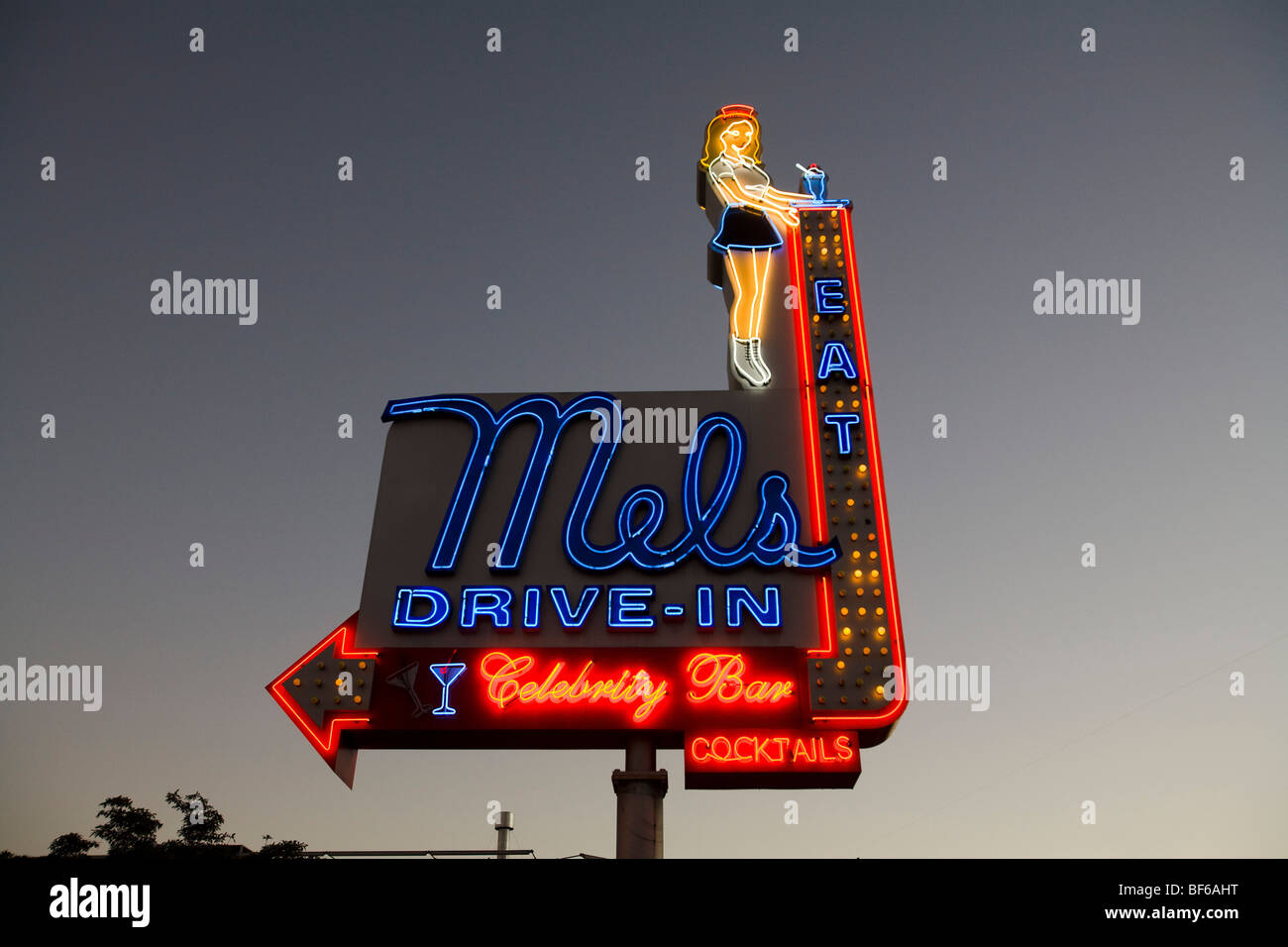 Mel's Drive-In Neon Sign, Hollywood, Los Angeles County, California, United States of America - Stock Image