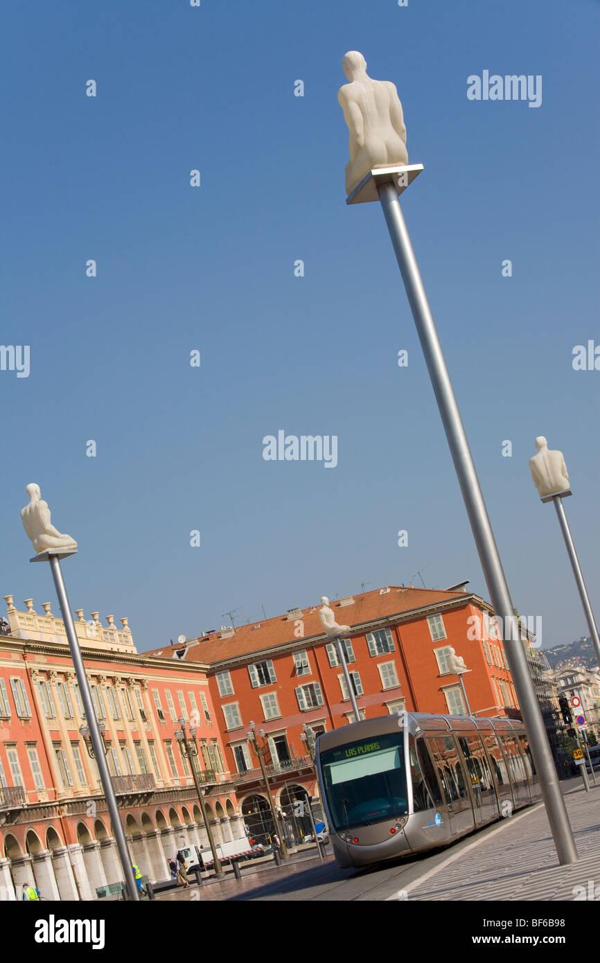 Place Massena, Streetcar T1, Art from Jaume Plensa ( Conversation Nice ), Nice, Cote D Azur, Provence, France - Stock Image