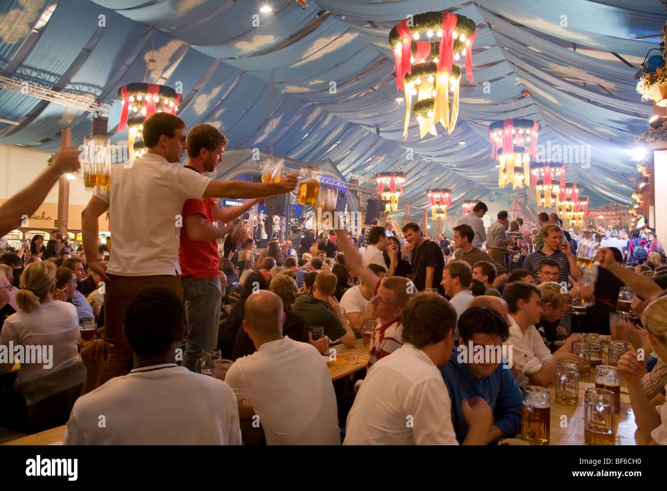 Volksfest on Cannstatter Wasen, Beer Tent, Bad Cannstatt, Stuttgart, Baden-Wuerttemberg, Germany - Stock Image