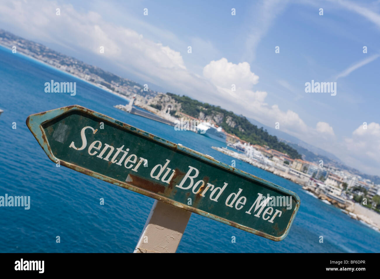 Sentier du Bord de Mer, Coastal Path, Sign, Nice Cote D Azur, Provence, France - Stock Image