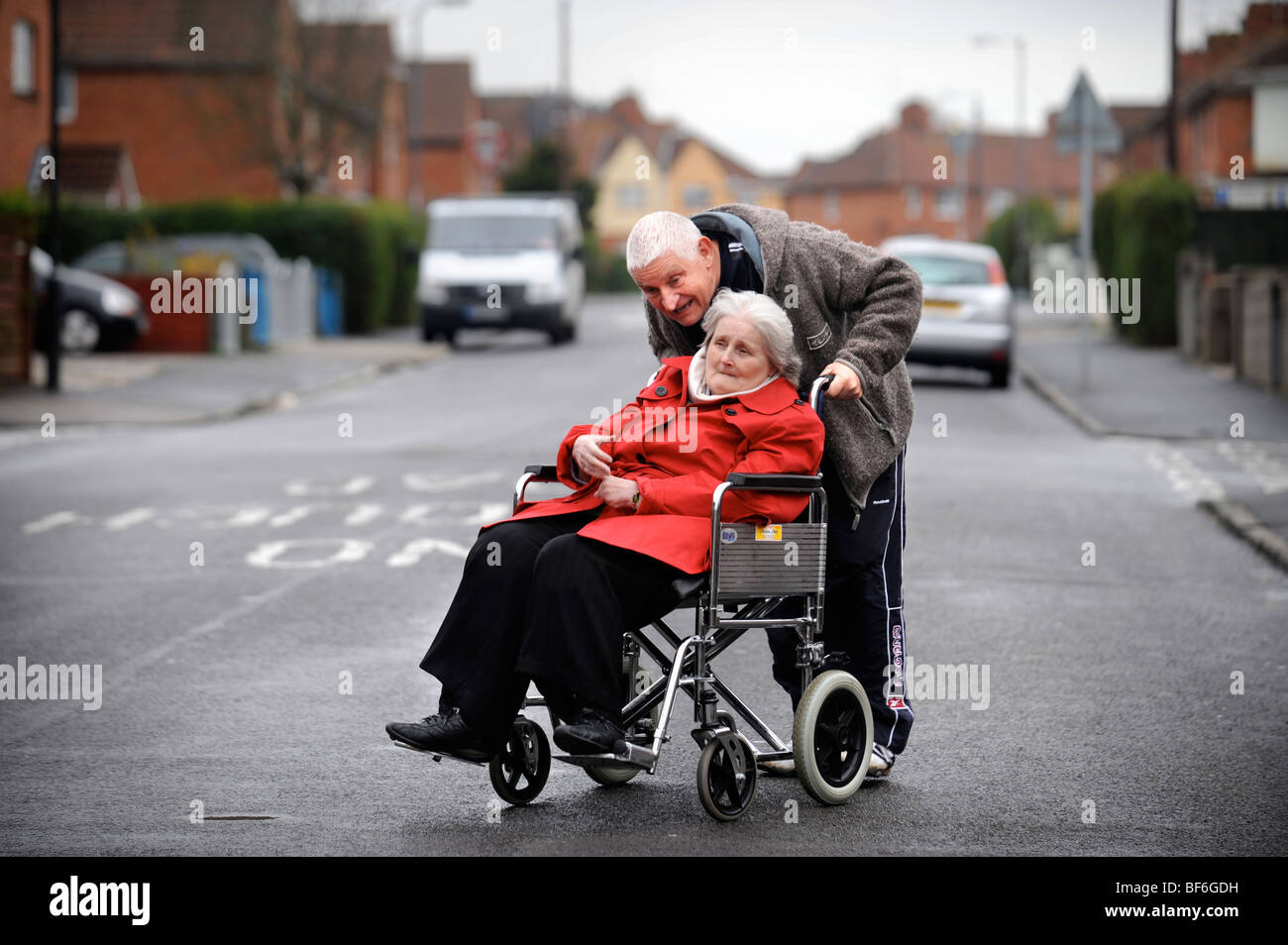 Carer Don Jones from Knowle in Bristol who looks after his sister Shelia Jones due to her complex needs including - Stock Image