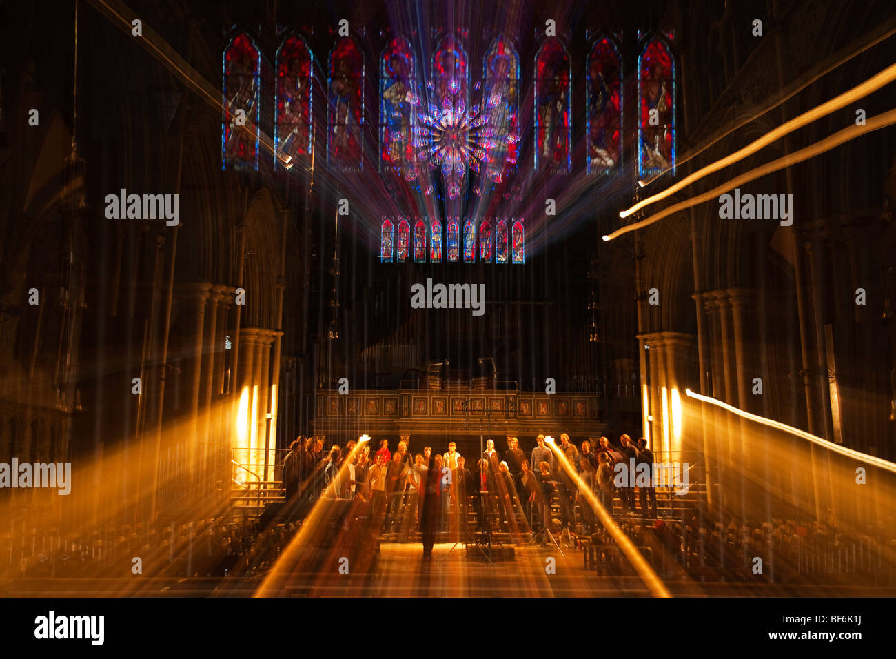 Norway Trondheim cathedral and church choir in recording session - Stock Image