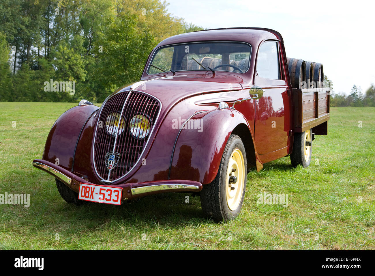 peugeot 202 pick up fifties veteran car loaded with barrique wine stock photo 26579782 alamy. Black Bedroom Furniture Sets. Home Design Ideas