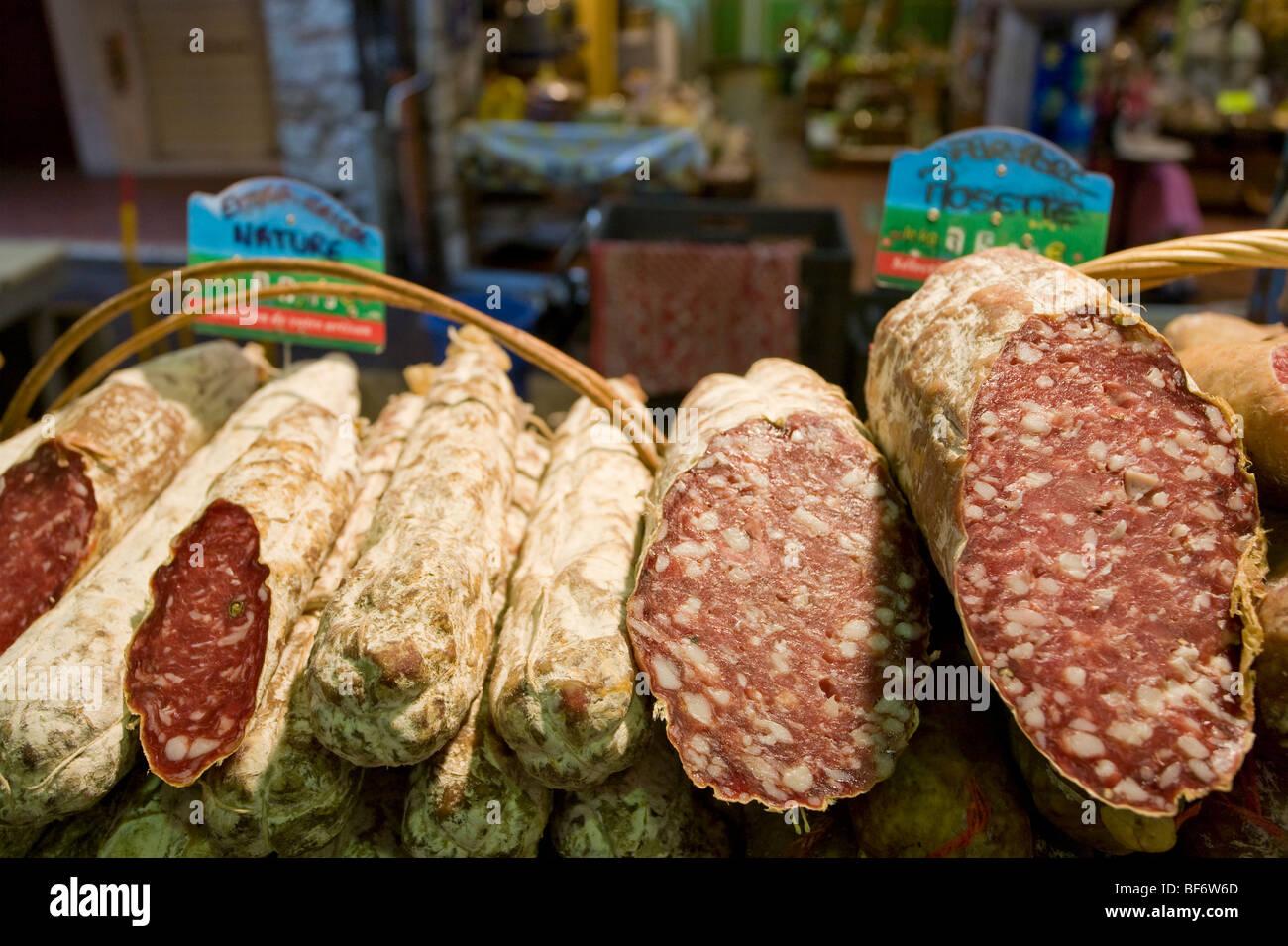 Salami, March Provencal, Market, Antibes, Cote D Azur, Provence, France - Stock Image
