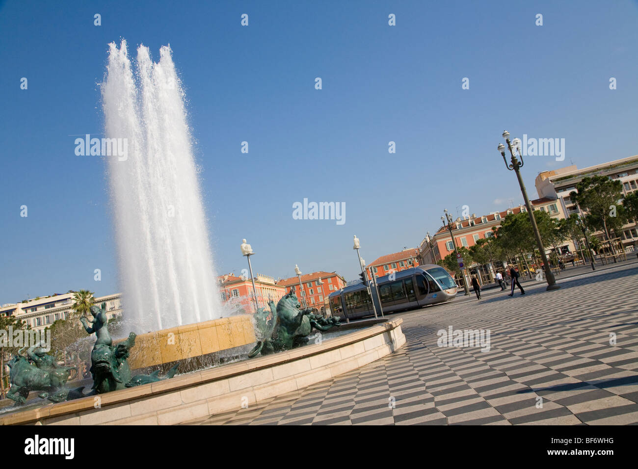 Place Massena, Streetcar T1, Nice, Cote D Azur, Provence, France - Stock Image