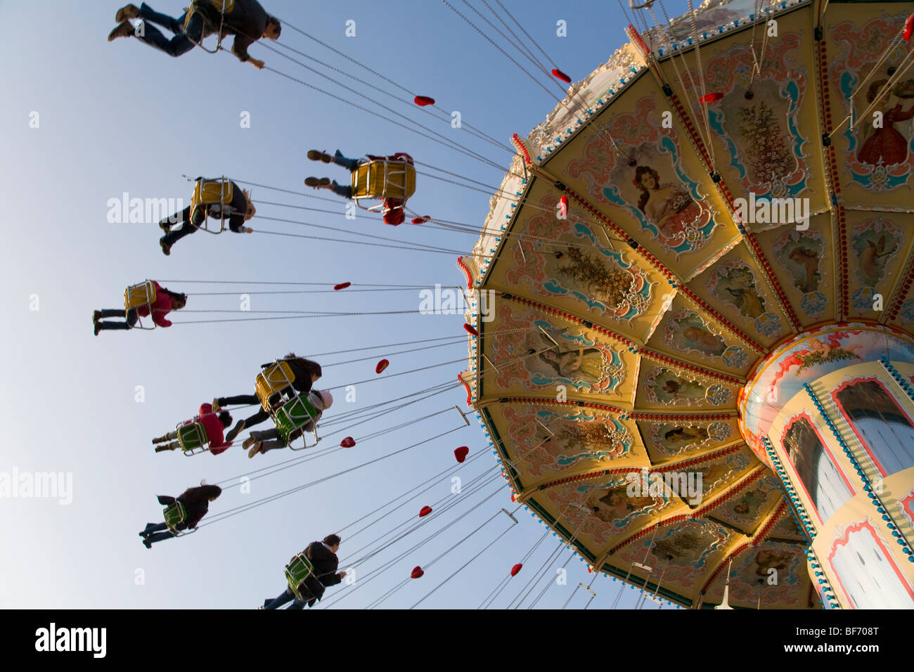 Chairoplane at the fairground of Cannstatter Volksfest in Stuttgart, Baden-Wurttemberg, Germany - Stock Image