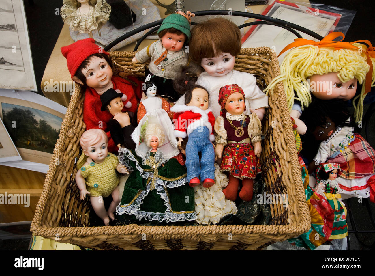 Antique dolls for sale at The Rose Bowl Swap Meet, Pasadena, California, United States of America Stock Photo