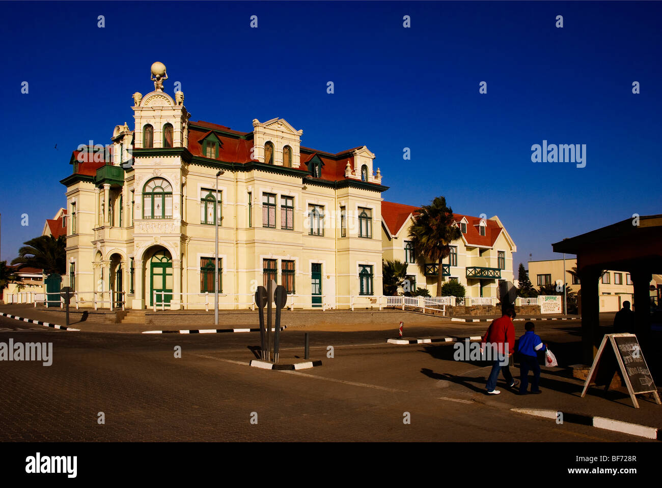 German architecture at Swakopmund town at the Namibian Coast - Stock Image