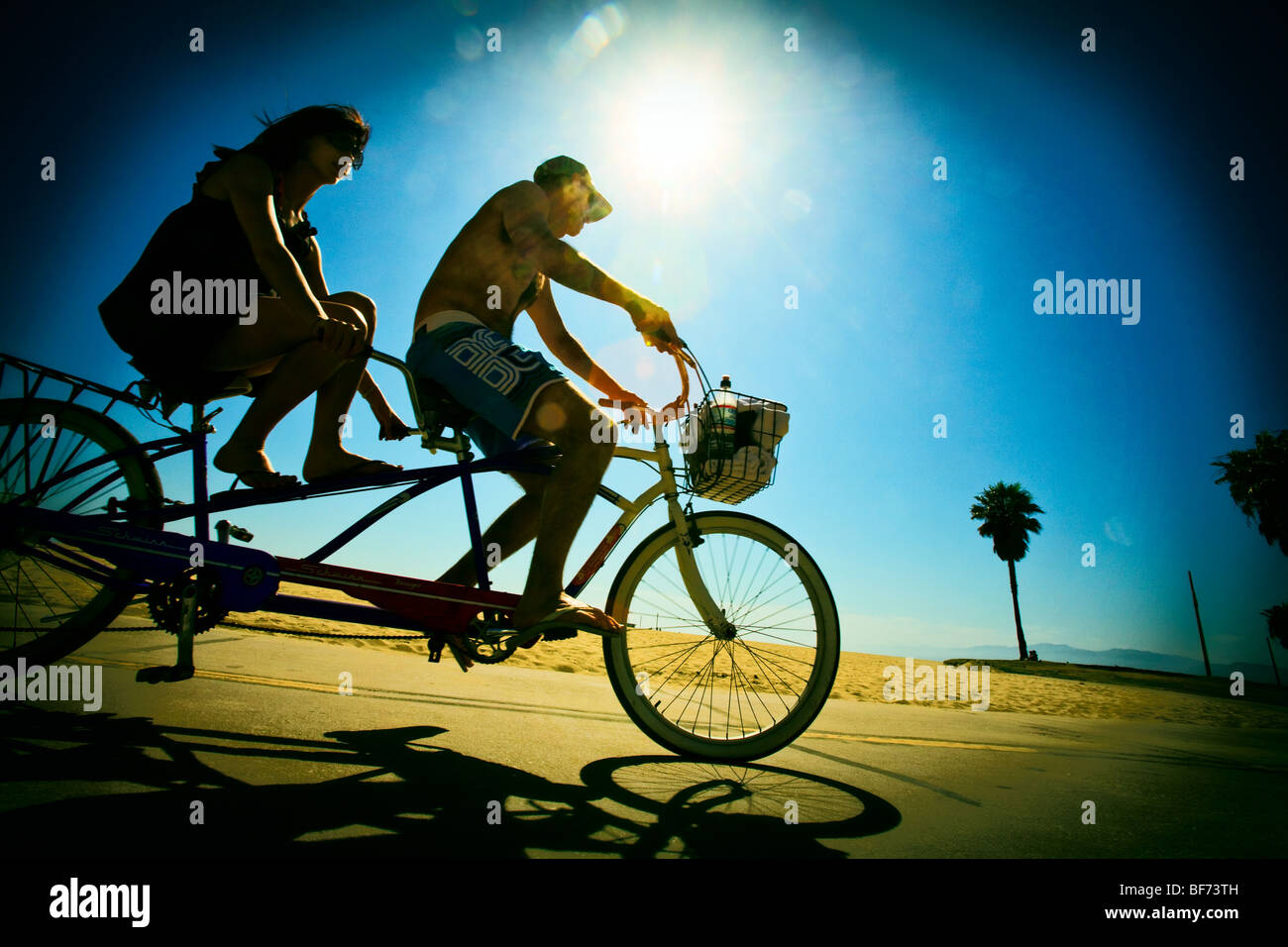 Tandem Bicycle riding, Venice Beach, Los Angeles County, California, United States of America - Stock Image