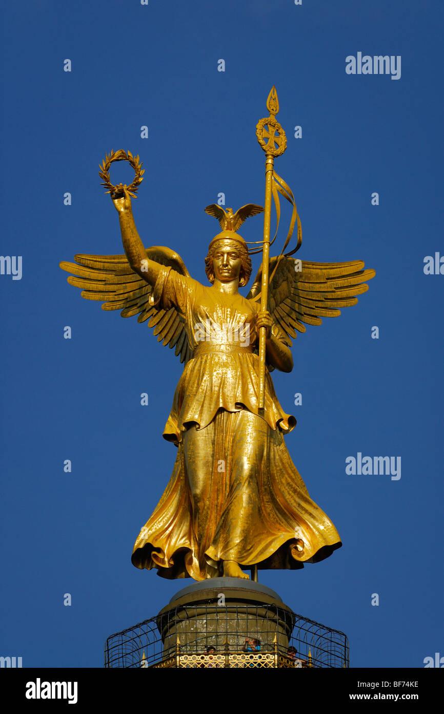 Berlin. Germany. Statue of Victoria Siegessäule Victory Column. - Stock Image