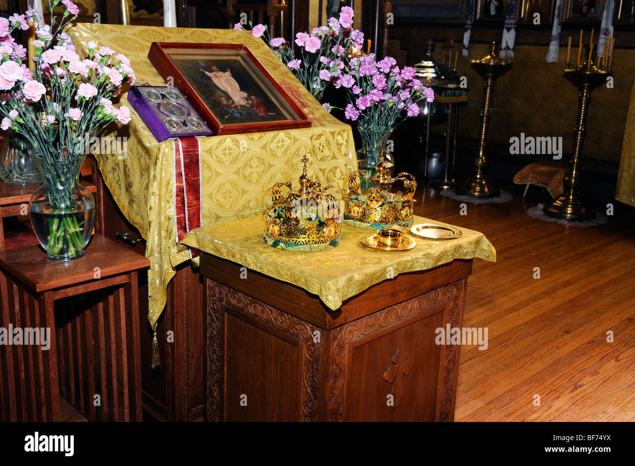 Icon and  betrothal accessories,wedding ceremony,Saint Andrew's Russian Orthodox Cathedral, Philadelphia, PA, - Stock Image