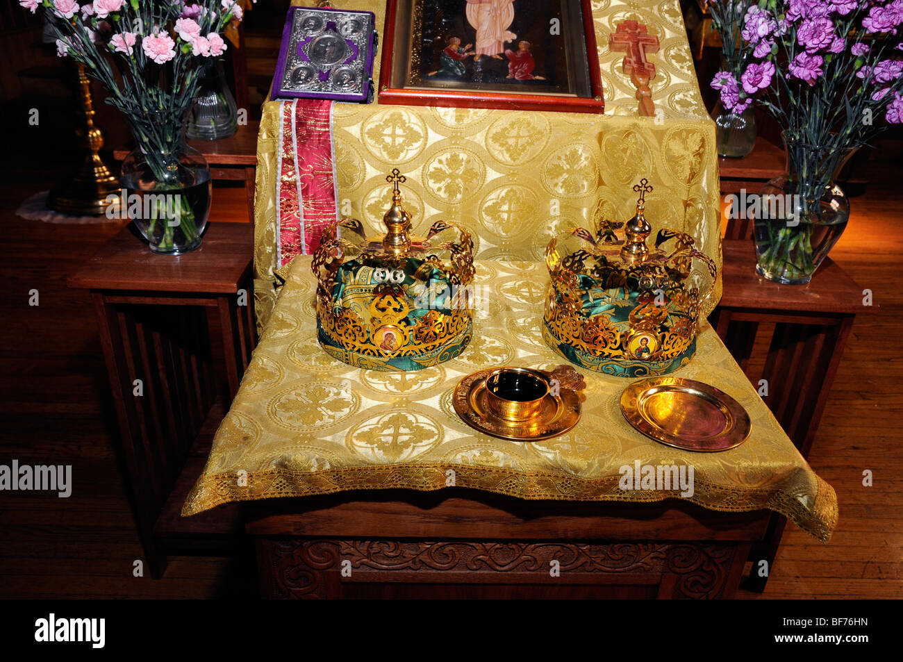 Betrothal accessories,wedding ceremony,Saint Andrew's Russian Orthodox Cathedral, Philadelphia, PA, USA - Stock Image